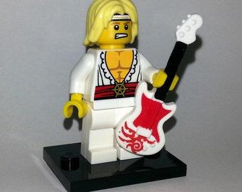 Lego 1980s Rock Guitarist Custom Minifigure - Hair Metal Guitar Dude