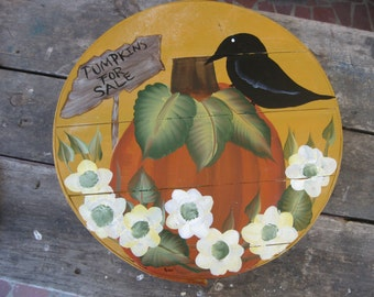 Pumpkins For Sale - Hand Painted Re Purposed Wood Cheese Box. Uses: Gift Box, Storage, Organization, Decor, and focal point of a vignette.