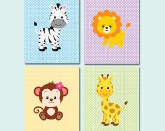 Safari Nursery Wall Art,Jungle Animals Nursery Wall Art,Zoo Animals Nursery Wall Art,Safari Nursery Decor,Animals Bathroom-UNFRAMED C430