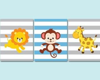 Safari Nursery Wall Art,Animals Nursery Wall Art,Jungle Nursery Wall Art,Safari Nursery Decor,Monkey Lion Giraffe Blue Gray UNFRAMED  3-C254