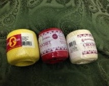 VINTAGE MERCERIZED COTTON Yarn Lot of 3 skeins Yellow, Red & Cream - by Caron and South Maid  for Filet Crochet and Tatting