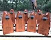 Set of 4 Personalised Beer Caddies Groomsmen Gift, Wood Beer Carrier with Bottle Opener, 6 Pack Beer Holder