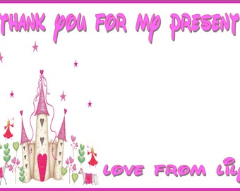 Princess Castle Birthday Party Thank You Cards Children Pink