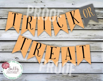 Tick or Treat Banner - Trick or Treat Printable - Halloween Decor - Halloween Party - Halloween Banner - Instant Download