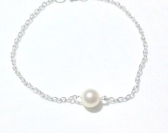 Childs bracelet - Childs Single Pearl Silver Bracelet -Daughter Bracelet - Bracelet For Child
