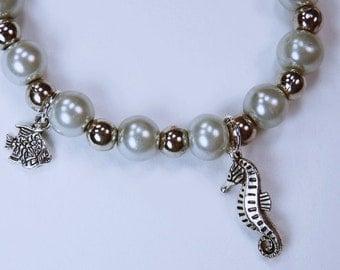 Bracelet, silver sea horse and silver fish Beads Bracelet mark motif - Mint - silver jewelry bright Sea horses