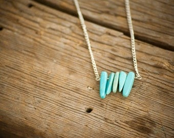 Turquoise dyed howlite stone necklace