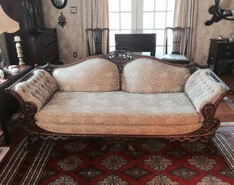 Victorian Couch, with Beautifully Hand Carved Wooden Frame