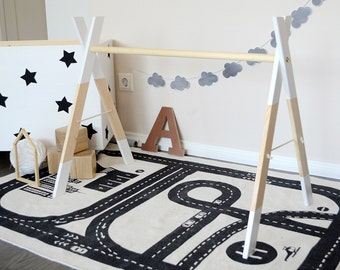 Wooden Baby Gym without Gym Toys White * / Play Gym / Activity Gym / Nursery Decor / Baby Sensory Toy / Nursery / Montessori Baby / Busy Gym