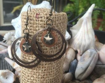 Mixed Metal Earrings, Mixed Metal Jewelry, Dangle Earrings, Silver and Copper, Copper and Silver, Rustic Earrings