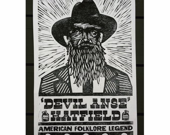 Devil Anse Hatfield Hand Pressed Print