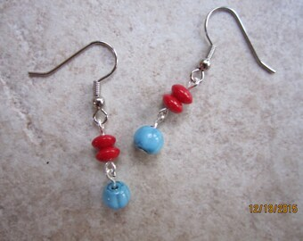 Turquoise and Red Dangle Earrings
