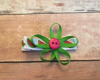 Green bow, watermelon lined alligator clip
