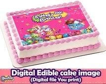 SHOPKINS Edible Cake Topper.Shopkins DIGITAL FILE.Shopkins Party.Shopkins cake. Shopkins cake topper.Shopkins edible bakery.Shopkins sweet