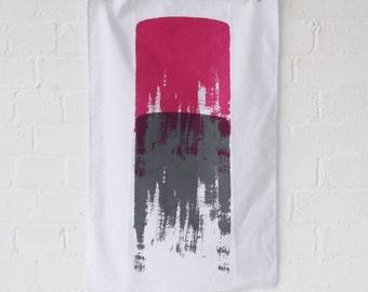 Tea towel: grey/magenta // Screen printed, linen cotton blend kitchen tea towel
