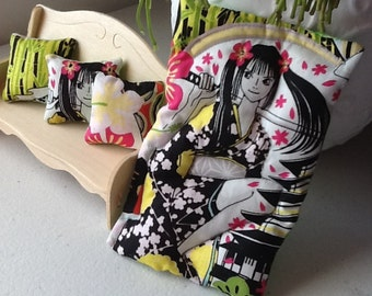 Japanese Anime / Manga art Single bed 1/12 scale quilt and cushions