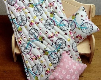 """1/12 scale """"Bikes and Baskets"""" single bed quilt set with two decorator cushions"""