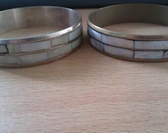 2 vintage inlaid bangles