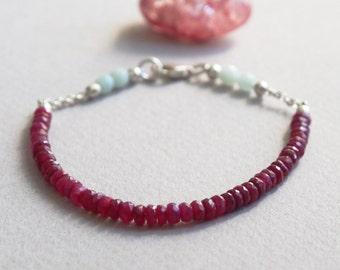 Delicate Ruby & Aquamarine Gemstone Bracelet w/ Sterling Silver, Minimal Healing Jewelry, 3mm Red 4mm Blue Semi Precious Stone Crystal Beads
