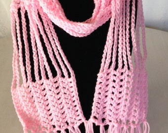 Skinny Crochet Wrap Scarf in Pink