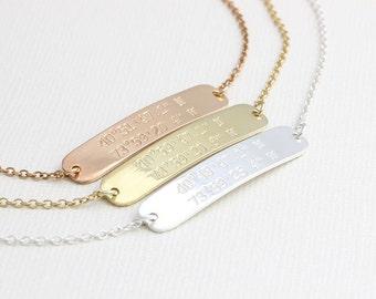 Dainty Personalized Bracelet, Coordinate Jewelry, Latitude Longitude Bracelet, Bridesmaid Gift