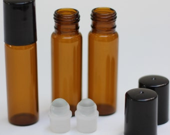 LOT OF 100 10mL Amber Glass Roll On Bottles with Glass rollers and Black Caps