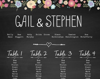 A3 Chalkboard Flower wedding seating plan, A2 also available