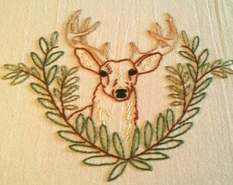 Deer Tea Towel, Hand Embroidery, kitchen towel, cotton flour sack towel, kitchen decor