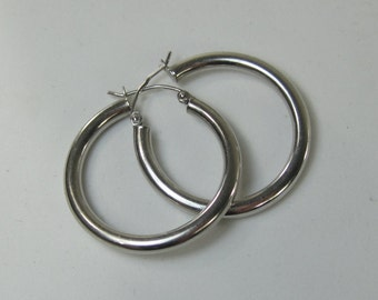 "Vintage Sterling Silver Hoop Earrings 1.25"" Pierced Leverback Tube"