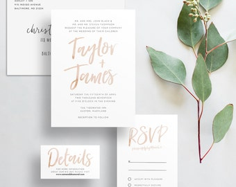 watercolor brush lettering wedding invites // pale taupe watercolor // sand watercolor // PRINTED wedding invites // custom