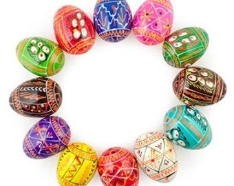 "Set of 12 Miniature Ukrainian Painted Wooden Easter Eggs Pysanky 1.25"" (H) (gs-117)"