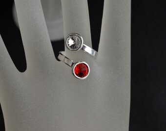 Ring 925 Swarovski crystal cabochon and dual light siam 6 mm
