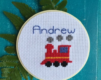 Train Mason Jar, Mason Jar Decor, Personalized Gift for Kids, Gift for Boy, Mason Jar Lid, Cross Stitch Art