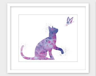 Cat and Butterflyly Watercolor Splatter Art Print, Printable Art Children's Room Decor, Nursery Decor Instant Digital Download