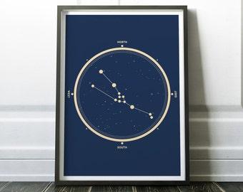 Taurus Zodiac Sign Print - Golden Zodiac Print - Taurus Constellation - Stars Constellation - Taurus Poster - Stars Print - Zodiac Print