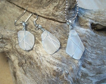 Lake Superior Sea Glass Necklace and Earrings, opaque.