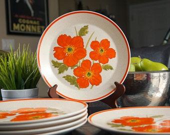 Vintage Lenox Temperware Fire Flower Dinner Plates Set of Six