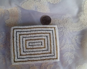 Beautiful Vintage  Beaded wallet-white, gold and silver beads