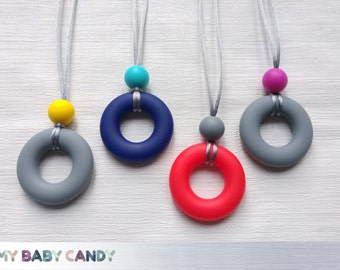 Silicone Teething Ring Necklace - 100% baby friendly, Unique Gift, Nursing Shower Breastfeeding Sensory Chew Beads Mom BPA Free