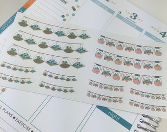 Succulent Banners Large and Small Planner Stickers Perfect for Erin Condren, Kikki K and more!