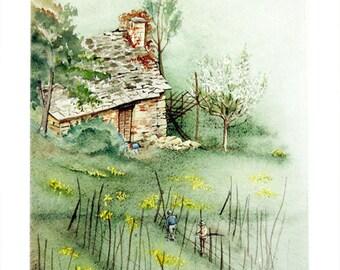 Casolare sulla collina - Original watercolour paintings  by Andrea Rossi