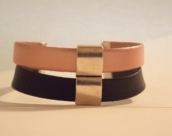 Pink, black chic Cuff Bracelet.