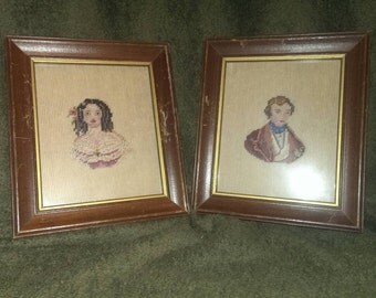 Vintage cross stitch portrait set
