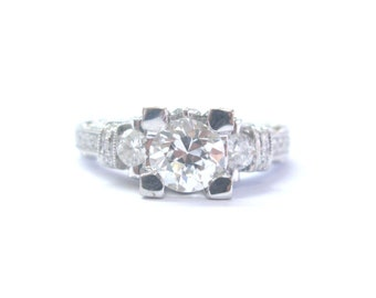 18Kt Old European Cut Diamond Engagement Jewelry Milgrain Ring 1.75Ct