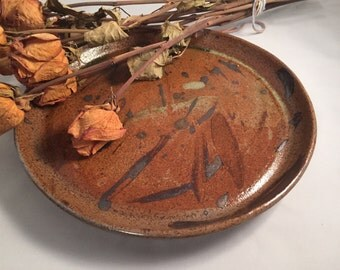 Brown speckled and dripped hand thrown ceramic Platter