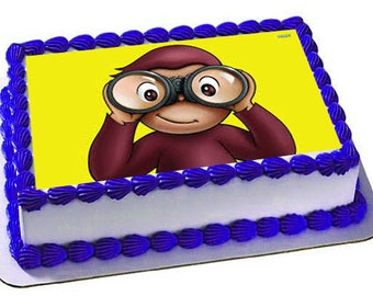 Curious George Cake Topper, Curious George birthday, Frosting sheet, cupcake topper,Curious George Edible images