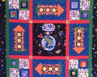 Space Explorer Quilt, Planets Quilt, Kids Quilt, Kids Wall Hanging, Rocket Quilt