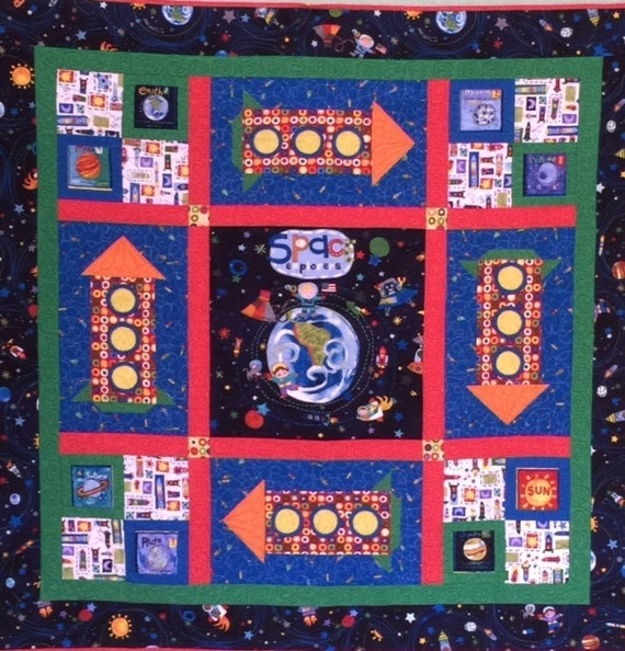 Space explorer quilt planets quilt kids quilt kids wall for Spaceship quilt