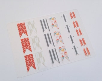 Washi Tape Stickers - Flag and Arrow Planner Stickers - Ring of Fire