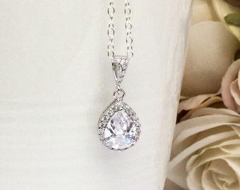 Sterling silver crystal teardrop bridal necklace, sterling silver bridal jewellery, cubic zirconia bridesmaid jewellery, wedding jewelry
